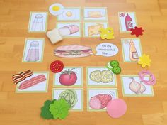 Material zum Thema Sandwich im Englischunterricht der Grundschule: Sandwich-Baukasten und Bildkarten (Flashcards)