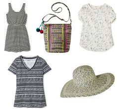 Five for Friday, Vol. 30 - Summer Vibes | Style On Target | tribal tee, global print bag, stripe dress, floppy hat, sailboat Merona blouse