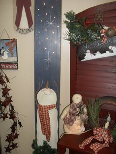 Tall ligthed up snowman board