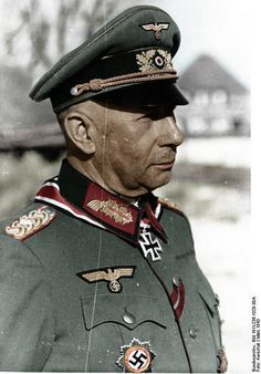 German general Walther Lucht held commands at division, corps and army levels during World War II. He was also a recipient of the Knight's Cross of the Iron Cross with Oak Leaves His commitment as commander of the 87th (Ryzew sector) and 336 infantry division(Crimea sector) was outstanding.In early March 1945,he was in the encirclement of the 15th Army missing, but was able to break thru with a few hundred soldiers to his own lines