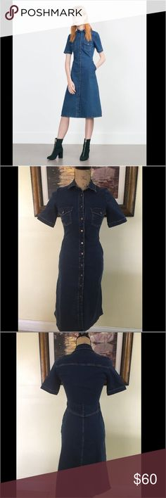 Zara Denim Button Down Dress Zara Denim Button Down Dress.  Love this dress.  Fitted dress.  Can be worn with boots, sandals or wedges.  Denim is hot!  Has belt loops.  This is for a true XS or smaller.  Side pockets. Zara Dresses Midi