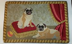 """Claire Murray Royal Pair of Pug Dogs Hooked Rug 100% Wool 33 1/2"""" x 22"""""""