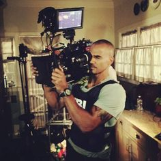 Action Jackson turned Camera Man!! The camera man's job is NO JOKE!! The camera weighs 75 pounds.. Sitting on his shoulder ALL DAY!!! I'll stick to chasing Bad Guys IN FRONT of the camera.. Much Respect to ALL THE PEOPLE it takes to make this Hollywood Magic... On set CRIMINAL MINDS... - Shemar Moore's FB
