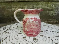 Masons Vista Red Pitcher Jug - Small - English Transferware Pitcher - Serving - Home Decor - Red Pitcher