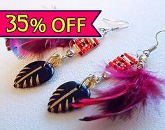 35 OFF SALE Feather earring Dangle earring by CervelleDoiseau