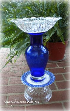 Vintage Glass Bird Bath,The sky is the limit with repurposed glass - I have one of those blue vases under the kitchen sink!!!