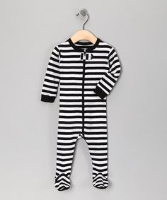 Take a look at this Black & White Stripe Footie - Toddler & Kids by Leveret on #zulily today!