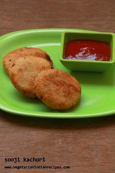 sooji kachori or suji kachori or rava kachori is a tasty snack made with sooji or semolina with potato stuffing. It can be served as a tea time snack. Healthy Snacks For Diabetics, Diet Snacks, Yummy Snacks, Vegetarian Snacks, Indian Appetizers, Indian Snacks, Indian Food Recipes, Tea Time Snacks, Breakfast Snacks