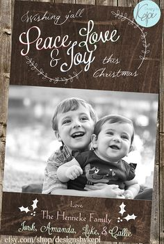 Country Christmas - Laurel & Leather Rustic Chic Xmas Card Family Card