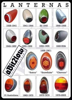Different VW Beetle rear signal lamps over the years.