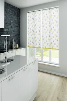 Our beautiful Calista Citrus Roller Blinds are sure to add a fresh, homely touch to your home. We love how they look in this gorgeous contemporary kitchen. The yellow and grey colours work perfectly to create a modern, on-trend look. Roller Blinds Kitchen, Kitchen Blinds, Interior Styling, Interior Decorating, Fabric Boxes, Wood Blinds, Living Room Flooring, Window Dressings, Blinde