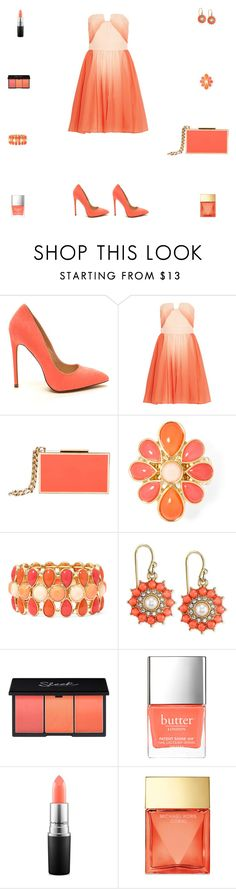"""Contest: Pastel Coral Ombre Prom Outfit N.2"" by billsacred ❤ liked on Polyvore featuring Halston Heritage, Lanvin, Liz Claiborne, 2028, Butter London, MAC Cosmetics and Michael Kors"
