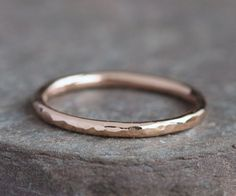 IN STOCK Lina - Handmade Solid 14k Rose Gold Ring Wedding Band Hammered Textured Size upto 12