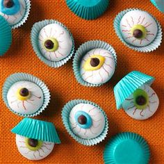 Eyeball Cookies Recipe- Recipes  All eyes will definitely be on these adorable cookies when they're set on any buffet table. I created them for my son's kindergarten class for Halloween. —Sherry Lee, Columbus, Ohio