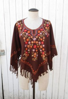 Sale Vintage 70's Cape Shawl Embroidered Brown by kerrilendo, $15.00