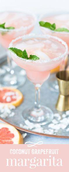 Coconut Grapefruit Margaritas - the best #cocktail #margarita #recipe #cocktailrecipes