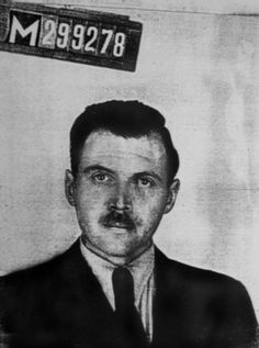 "Josef Mengele poses for his ID photo in Argentina in 1956. Mengele  was never brought to justice for experimenting on children and being the key figure in ""selections"" upon the arrival of death trains at the camp."