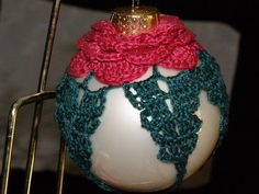 Hand Crocheted Christmas Ornament Victorian Rose Over by parkie2, $10.50