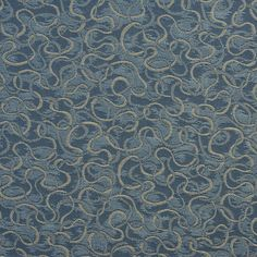 Coastal  Beige and Light Blue Abstract Damask Upholstery Fabric