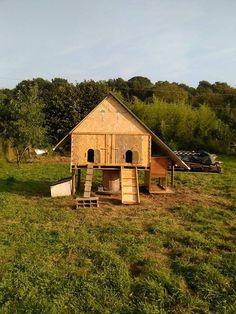 Poulailler cabane en récup - Guide Astuces : Une cabane poulailler fabriquée parNathalie Didier Deneuvelaere. Voici ses explications : On a posé un touret