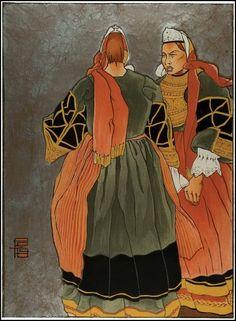 Femmes en costumes de fête de Pont L'abbé, Gravure sur bois en couleur de Georges Géo-Fourrier