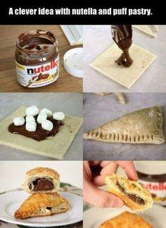 Nutella & Mini Marshmellos in Puff Pastry