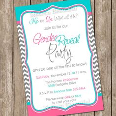 Gender Reveal Invitation Baby Reveal Invite by ModernBeautiful, $12.00