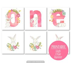 ONE High Chair Banner, Bunny Birthday Banner, Bunny Birthday Bunting, Bunny Decor, Instant Dow Diy 1st Birthday Decorations, Diy Party Banner, 1st Birthday Party For Girls, 1st Birthday Banners, Bunny Birthday, Birthday Diy, Birthday Ideas, Bunny Party, High Chair Banner