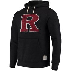 Men's Original Retro Brand Black Rutgers Scarlet Knights School Logo Tri-Blend Hoodie, Size: