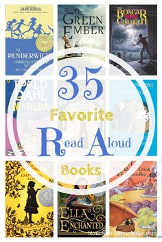 35 Favorite Read Aloud Books: One of my favorite things in the whole world is snuggling with my children and reading aloud from a great book. We enjoy picture books as well, but there is nothing like a fantastic chapter book or novel read aloud. I've found that our read alouds really deepen our bond and helps us to connect as a family. Plus I get to re-read some of my favorite childhood books.