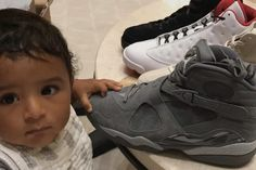 6b67ef784fef DJ Khaled   Asahd Show Off Air Jordan 8  Cool Grey  on Instagram