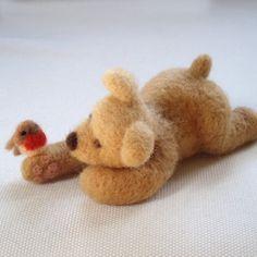 Honey+Bear++Needle+Felted+Sculpture+by+feltpets+on+Etsy