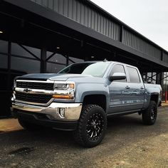 2016 Chevy 1500 we did for it's got a Zone lift with Fuel Cleavers on Mickey Thompson and some Amp Steps! Go check it out its for sale at Everett Chevrolet in Springdale, AR. Chevy Duramax, Chevrolet Trucks, Chevrolet Silverado, 2016 Silverado, Suv Trucks, Jeep Truck, Cool Trucks, Pickup Trucks, 2016 Chevy 1500