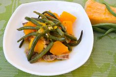 Ginisang kalabasa is a Filipino dish that I learned to cook from my mom.This recipe uses green beans,pork, garlic, shallot, tomato and fish sauce.
