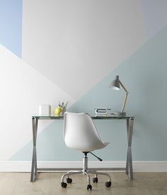 Home Inspiration Paint effect Ideas. Geometric effect accent wall in blues and neutral shades. How to create a geometric painted wall.