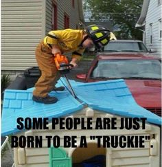 Truckie, Nozzle, or Sqad? This kid's definitely chosen to be a Truckie! Firefighter Paramedic, Firefighter Love, Firefighter Quotes, Volunteer Firefighter, Firefighter Training, Fire Dept, Fire Department, Firefighter Pictures, Way Of Life