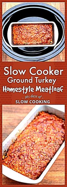 An easy recipe for slow cooker ground turkey meatloaf. A traditional dinner that everyone loves! Slow Cooker Homestyle Ground Turkey (or Beef) Meatloaf - slow cooker ground turkey homestyle meatloaf recipe Crockpot French Toast, Ground Turkey Meatloaf, Ground Turkey Recipes, Slow Cooker Recipes, Gourmet Recipes, Crockpot Recipes, Meat Recipes, Slow Cooker Meatloaf, Snacks Under 100 Calories