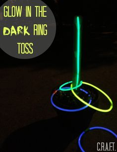 Glow Ring Toss is so easy!! Kids gonna love it. Perfect when boredom strikes on a warm summer night. Glow-in-the-dark necklaces to use as hoops, they are totally cheap, guys:  http://www.flashingblinkylights.com/light-up-products/glow-necklaces.html