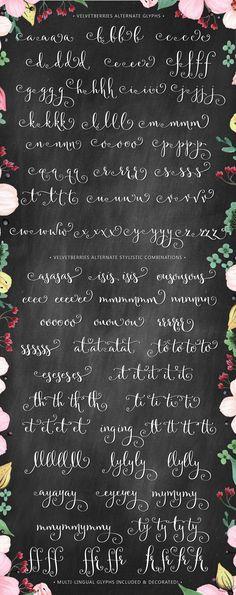 Velvetberries Alternate Glyphs Modern Hand-lettering Calligraphy Script Font Cursive Sweet Type