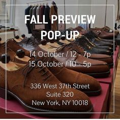 Tomorrow Friday and Saturday we're holding a preview pop-up in NYC.  A great opportunity to see and try on our latest fall arrivals.  We'll have selections from some of our most popular makers including Sartoria Formosa Camoshita Eidos Rota Frank Leder Stephan Schneider and even a few makers that have yet to make it to the site.  Stop by come say hi see the good stuff and grab a beer  !