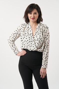 Based on the iconic silk blouses worn by Gillian Anderson in The Fall, the Anderson Blouse is a gorgeous classic sewing pattern. The delicious wrap front is sexy and sophisticated and gives the blouse an effortlessly elegant feel. There are no darts – instead, the shoulders are gathered to create subtle shaping that's both flattering and pretty. The blouse features full-length sleeves with a pleated, button-fastening cuff. The sewing project is sure to become a wardrobe staple. Sew Over It, Silk Blouses, Gillian Anderson, Pdf Sewing Patterns, Darts, Wardrobe Staples, Feminine, Glamour, Button