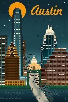 Austin, Texas - Retro Skyline - Lantern Press Poster