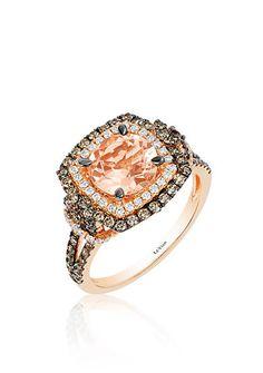 Le Vian® Peach Morganite™, Vanilla Diamond®, and Chocolate Diamond® Ring in 14k Strawberry Gold®