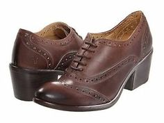Frye Maggie Perf Wingtip Oxford Dark Brown Leather Brogues Stacked Heel 8 8 5 | eBay