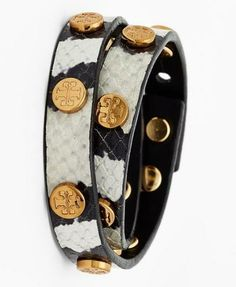 Adding some edge to the spring attire - Tory Burch leather wrap bracelet