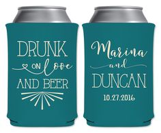 "Wedding Can Coolers Beverage Insulators Koozies Personalized Wedding Favors - Drunk On Love And Beer Coozies by ""ThatWedShop"" on Etsy 
