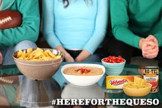 VELVEETA and RO*TEL make the dish that gets everyone to the party. #HereForTheQueso http://www.quesoforall.com/recipes-Famous-Queso-7566.html