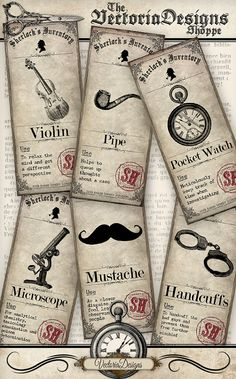Printable Sherlock Holmes Inventory Mini Posters by VectoriaDesigns on Etsy