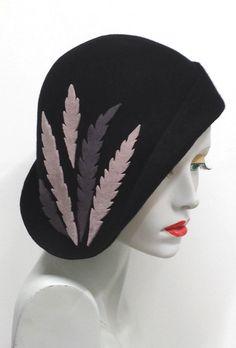 0f5b6bc9107 Asymmetrical black wool felt cloche hat with wool by SHMillinery Custom  Made Hats