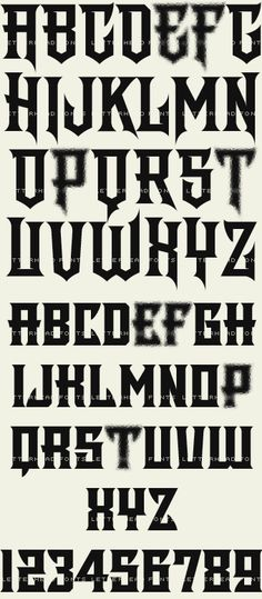 Modern style font with sharp corners and eye-catching, bold letters that command your viewer's attention. Set includes a convex version for an easy effect. Set includes 4 fonts: Regular, Spurs, Shadow and Convex Graffiti Tattoo, Graffiti Alphabet, Graffiti Lettering, Typography Letters, Letter Fonts, Tattoo Lettering Styles, Lettering Design, Hand Lettering, Asian Font